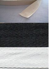 COTTON HERRINGBONE TWILL TAPE 25mm CHOICE OF WHITE/NATURAL/BLACK WITH FREEPOST
