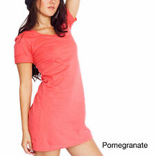 American Apparel Organic Fine Jersey S/S Crew Neck T-Shirt Dress Pomegranate