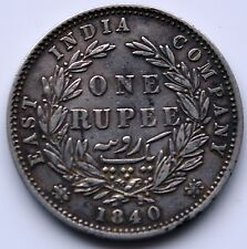 Victoria 1840 East India Company Silver One Rupee.   T3