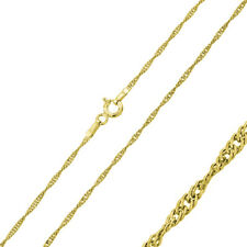 1.25mm 925 Sterling Silver Singapore Chain Necklace / Gold Plated made in italy