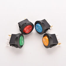2/4x ON/OFF LED 12V 16A DOT ROUND ROCKER SPST TOGGLE SWITCH CAR BOAT LIGHT JX