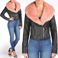 NEW WOMENS BLACK PU BIKER PINK FUR COLLAR JACKET CROP LADIES LEATHER PVC BOMBER