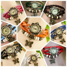 Vintage Retro Leather Bracelet Butterfly Wrist Watch for Women and Girls