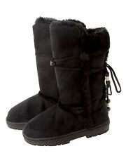 WOMENS BLACK MID CALF FAUX FUR FLAT THICK SOLE WINTER BOOTS LADIES UK SIZE 3-8
