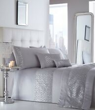 LUXURY SEQUIN DIAMANTE DUVET QUILT COVER BEDDING LINEN SET - SHIMMER SILVER GREY