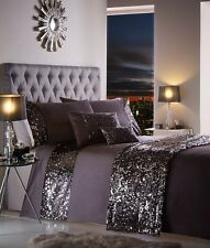 LUXURY SPARKLING SEQUIN DUVET QUILT COVER BEDDING BED LINEN SET DAZZLE CHARCOAL