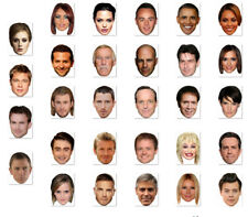 BUDGET RANGE #1 - READY TO WEAR CELEBRITY FACE MASKS - 30 TO CHOOSE - LOW PRICE!