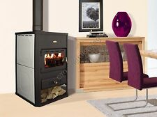 Wood Burning Stove Prity S1 6+10 kW Back Boiler Log Burner Woodburning Opt. Pad
