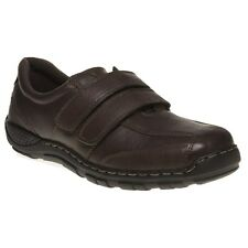 New Mens Hush Puppies Brown Jason Leather Shoes Velcro