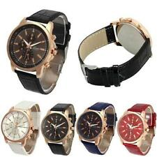 New Geneva Rose Gold Aviator Chrono Quartz Watch PU Leather Strap Colour Choice