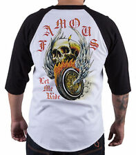 FAMOUS STARS AND STRAPS FSAS [LET ME RIDE] RAGLAN T-SHIRT SKULL WINGS TATTOO INK
