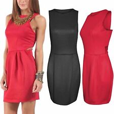 DONNA CUT OUT LATO VESTITO ADERENTE SENZA MANICHE TULIPANO LOOK GONNA A PIEGHE