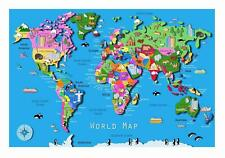Childrens World Map and Animals Educational  poster schools A2, A1, A0 sizes