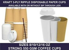 8/10/12/16oz Insulated Ripple Disposable Paper Coffee Cups,Lids , UK SELLER