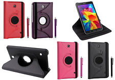 """Leather 360 Book Case Folio Cover For Galaxy Tab-4 8"""" T330 Free Protector Stylus"""