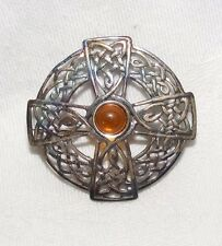 STERLING SILVER CELTIC CROSS BROOCH / PIN WELSH OR SCOTTISH SIGNED