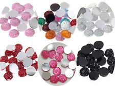 "100 Round Flatback Resin Dotted Rhinestone Beads 10mm (3/8"") Color For Choice"
