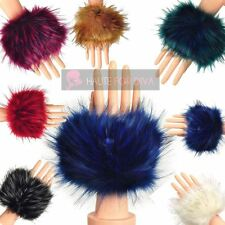 PAIR OF LUXURY WOMENS FAUX RACCOON SOFT FUR CUFFS WRIST SKI WINTER HAND WARMER