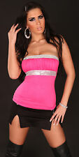 Sexy Glamour Bandeau Tube Top Pailletten S 34 M 36 L 38 Pink Silber NEU