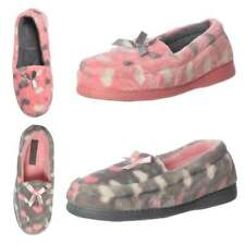 Womens Girls Moccasin Warm Slippers With Hard Wearing Sole Grey Pink UK3 - UK8