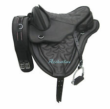 All Purpose cow softy treeless saddle black matching stitching with accessories
