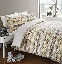 STOCKHOLM REVERSIBLE DUVET QUILT COVER BEDDING BED SET +PILLOWCASES LEMON YELLOW