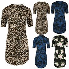 Womens Ladies Floral Turtle Neck Short Sleeve Bodycon Fit Curved Hem Mini Dress