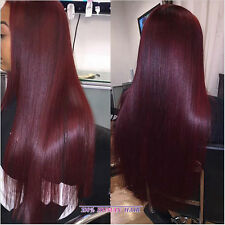 1 Pc Brazilian Virgin Remy Straight Human Hair Weft Extension 50g Wine Red #99J
