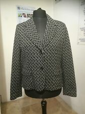 M & S PER UNA ITALIAN FABRIC BLACK&WHITE FLECKED 70% WOOL JACKET SIZE  18