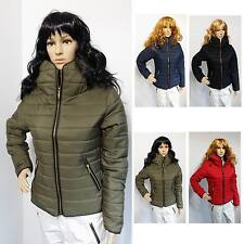 Ladies Winter Quilted Puffer Bubble Padded Jacket Collar Gold Zipper Thick Coat