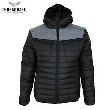 Mens Threadbare Padded Quilted Hooded Lightweight Puffa Bubble Jacket Coat
