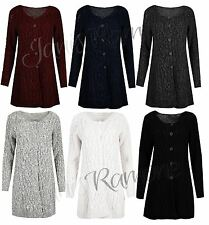 New Womens Chunky Cable Knit Button Long Sleeve Baggy Swing Jumper Cardigan Top