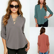 Plus UK 8-22 Ladies V Neck Chiffon Top Long Sleeve Loose Casual T Shirt Blouse