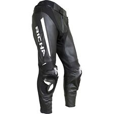 Richa Rebel Motorcycle Motorbike Leather Trousers Pants Black White NEW