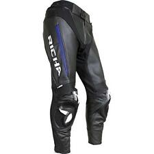 Richa Rebel Motorcycle Motorbike Leather Trousers Pants Black Blue NEW