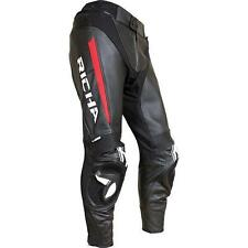 Richa Rebel Motorcycle Motorbike Leather Trousers Pants Black Red NEW