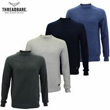 Mens Crew Neck Cotton Ribbed Knit Pullover Sweater Jumper By Threadbare