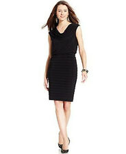 Adrianna Papell Sleeveless Cowl Neck Cocktail Dress Black Stretch LBD NWT $120