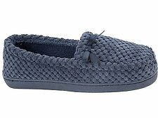 Ladies BHS Navy Bobble Slip On Moccasin Towelling Warm Slippers Size- Benita