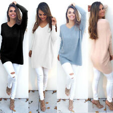Womens V-Neck Chunky Knitted Oversized Sweater Baggy Tops Pullover Jumper Dress