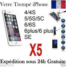 Lot 5 Vitre Ecran Film Verre Trempé protection  Apple iphone 4/5/6/7/S/Plus !