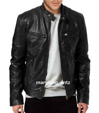 New Soft Genuine Leather Lambskin Motorcycle Biker Jacket Blazer Bomber Coat 501
