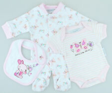3 Piece Baby Girls Gift Set, Sleepsuit, Bodysuit, Bib - (Petite Baby - Newborn)