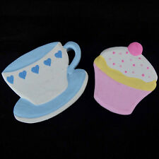FRIDGE MAGNETS CERAMIC TEA CUP & SAUCER OR CUPCAKE PINK & BLUE CHOOSE DESIGN