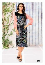 Indian Bollywood Black Multi Color Digital Print Cotton Kurti Tunic Traditional