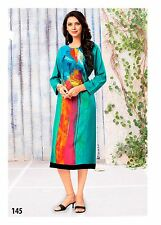 Indian Bollywood Sky Blue,Pink Digital Print Cotton Kurti Tunic Traditional