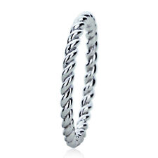 Women's Fine band 2mm 14K White Gold Plain Band Braided Rope Design Wedding Band