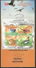Endangered Birds of India 2006 MS on Folder Miniature Sheet first day cancelled
