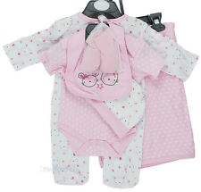 Baby Girls 6 Piece Layette Gift Set, Sleepsuit, Bodysuit, Wrap, Hat, Bib, Socks