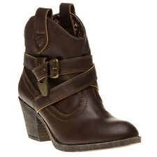 New Womens Rocket Dog Brown Satire Pu Boots Ankle Pull On